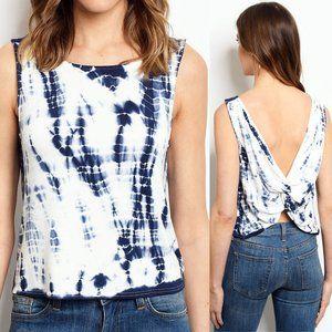 Le Lis Tie White Blue Dye Twist Back Crop Tank Top